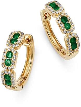 Bloomingdale's Emerald & Diamond Mini Hoop Earrings in 14K Yellow Gold - 100% Exclusive
