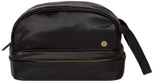 Raleigh Mahi Leather Leather Toiletry Bag Dopp Kit In Ebony Black