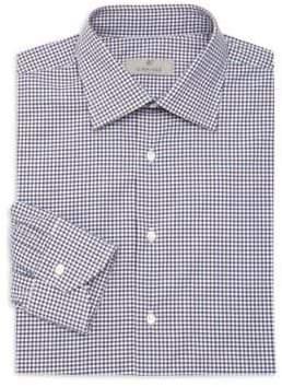 Canali Mini Check Cotton Dress Shirt