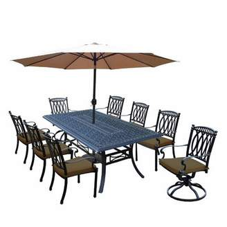 Oakland Living Morocco Aluminum 9 Piece Dining Set with Cushions and Umbrella Oakland Living