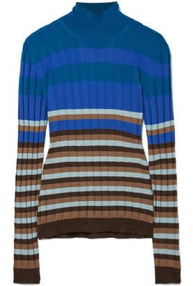 Marni Striped Ribbed Wool Turtleneck Sweater - Blue