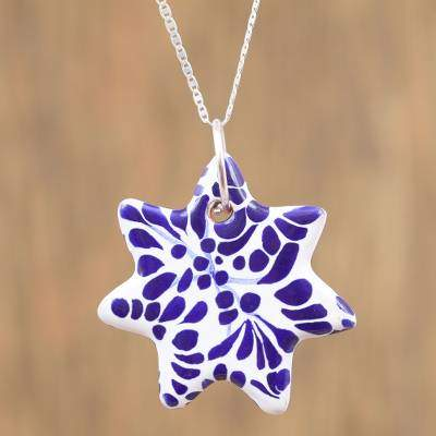 Garden Star Ceramic Puebla-Style Blue Floral Star Pendant Necklace