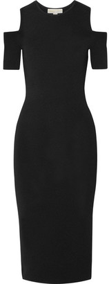 MICHAEL Michael Kors - Nyla Cold-shoulder Stretch-knit Dress - Black $155 thestylecure.com