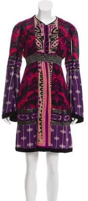 Anna Sui Silk Abstract Print Dress Purple Silk Abstract Print Dress