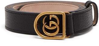 Gucci GG-encased buckle grained-leather belt
