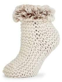 Lemon Faux Fur-Trimmed Ankle Socks