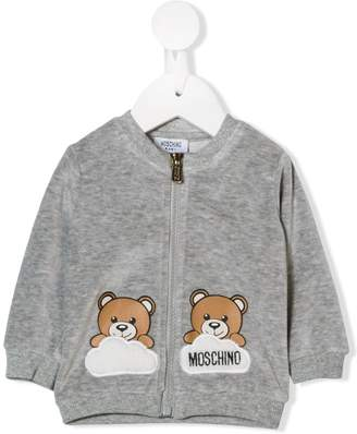 Moschino Kids teddy logo zipped sweatshirt