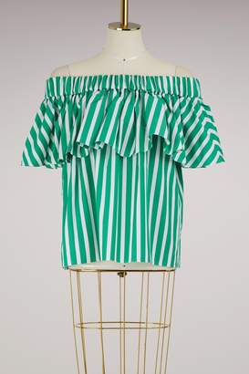 Maison Rabih Kayrouz Striped cotton strapless top