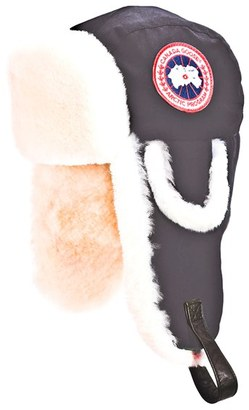 Women's Canada Goose 'Arctic' Tech Pilot Hat With Genuine Shearling Lining $350 thestylecure.com