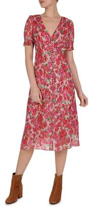 The Kooples Cherry Blossom Button-Detail Midi Dress