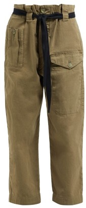 Raey Front Pocket Cotton Twill Army Trousers - Womens - Khaki