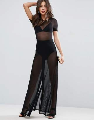 ASOS Maxi Skirt in Mesh with Knickers $45 thestylecure.com