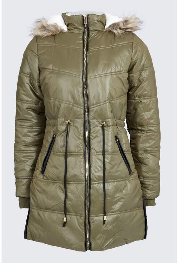 Longline Borg Lined Puffa Coat