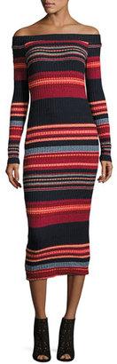 Ella Moss Striped Off-the-Shoulder Ribbed Midi Dress, Scarlet Multi $198 thestylecure.com