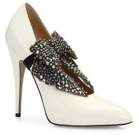 Elaisa Removable Crystal Bow & Leather Point Toe Pumps
