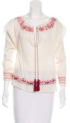 LoveShackFancy Embroidered Long Sleeve Top