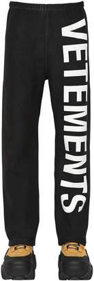 Vetements Logo Printed Cotton Blend Sweatpants