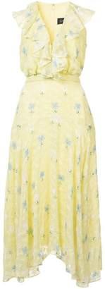 Saloni carnation print ruffle dress