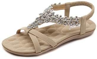 9c47765b44c91 S Women Flat Sandals Summer Beach Glitter Beads Elastic T-Strap Flip