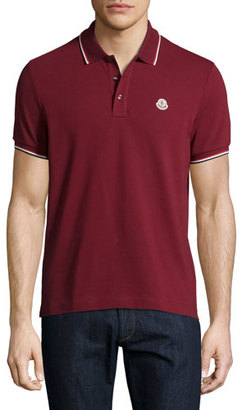Moncler Tipped Piqué Polo Shirt, White $170 thestylecure.com