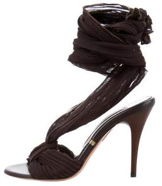 Gianmarco Lorenzi Pleated Lace-Up Sandals