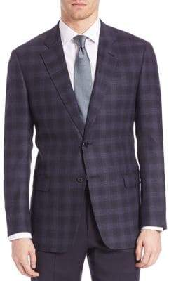 Armani Collezioni Two Button Plaid Jacket