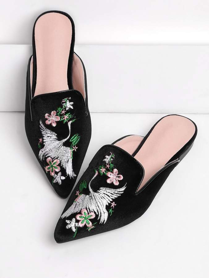 SheIn Cranes And Flower Embroidery Flat Mules