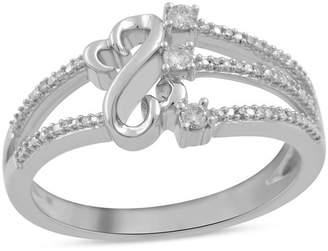 Zales Open Hearts by Jane Seymoura 1/10 CT. T.W. Diamond Three Stone Split Shank Ring in Sterling Silver - Size 7