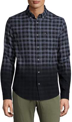 Madison Supply Men's Ombre Plaid Woven Shirt