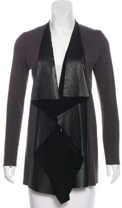 Rozae Nichols Leather-Accented Angora & Wool-Blend Cardigan