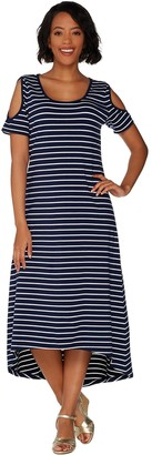 Isaac Mizrahi Live! Striped Cold Shoulder Hi-Low Maxi Dress