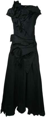 aganovich draped flared midi dress