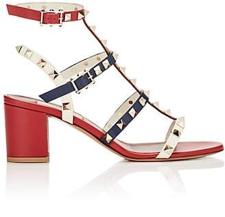 Valentino Women's Rockstud Leather Multi-Strap Sandals - Red