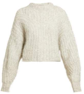 Isabel Marant Inko Pointelle Mohair Blend Sweater - Womens - Light Grey