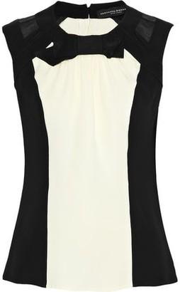 Carolina Herrera Organza-Paneled Bow-Embellished Silk-Crepe Blouse