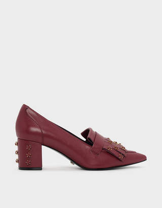 Charles & Keith Embellished Leather Moccassins