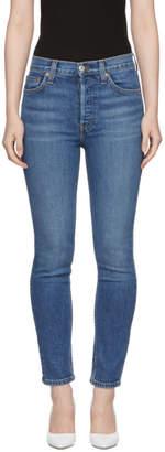 RE/DONE Blue Originals High-Rise Ankle Crop Jeans