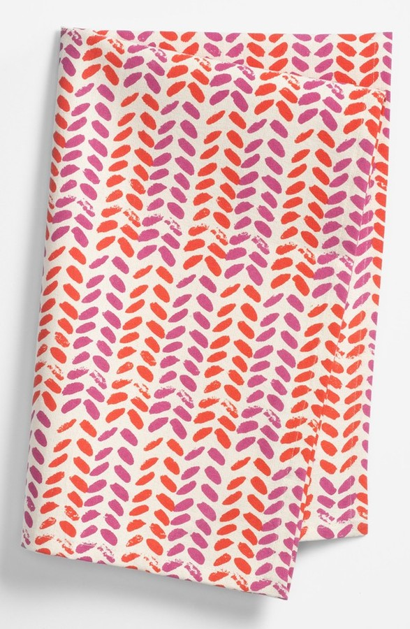 chewing the cud 'Leaves' Tea Towel Fuschia/Cherry One Size