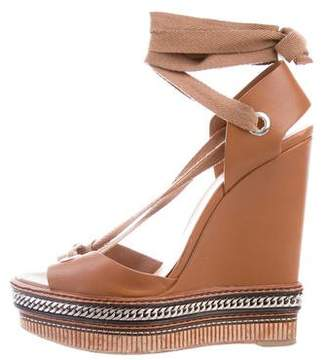 Christian Louboutin Chain-Embellished Lace-Up Wedges