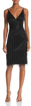 Adrianna Papell Beaded V-Neck Dress