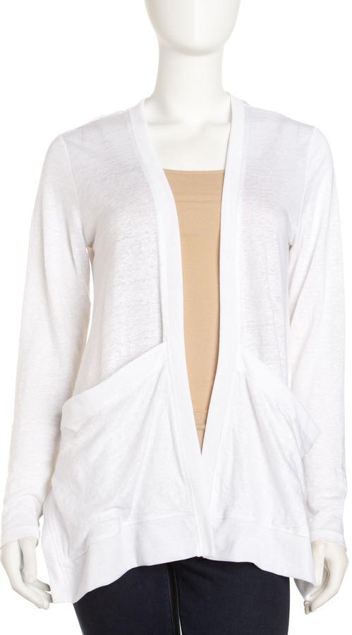 Neiman Marcus Drapey Linen Cardigan, Bleach White