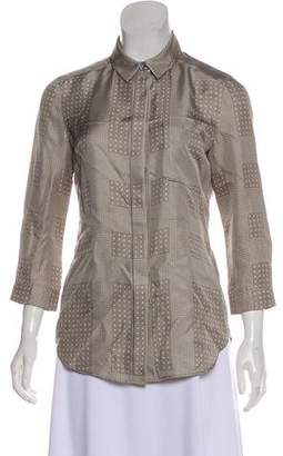 Burberry Silk Collared Button-Up Top