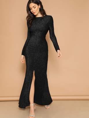 Shein Open Back Slit Glitter Mermaid Prom Dress