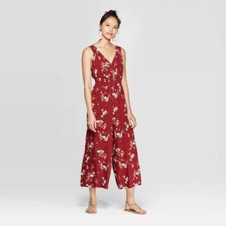 Xhilaration Women's Floral Print Sleeveless V-Neck Smocked Waist Button Front Jumpsuit Pomegranate