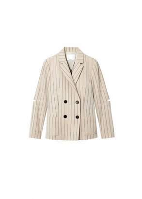 Tibi Tropical Wool Blazer with Sleeve Slit