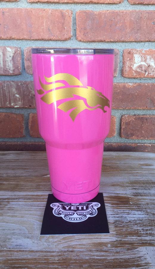 Etsy Personalized Broncos Yeti Rambler, Broncos Girl, Pink Broncos Tumbler, Football Logo