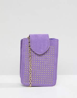 Pieces Studded Camera Bag With Cross Body Chain