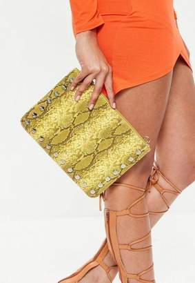Missguided Yellow Snake Pattern Zip Top Clutch Bag