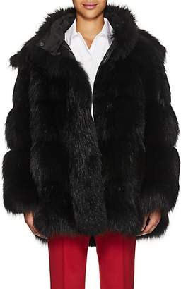 Prada Women's Fox Fur Hooded Coat - Black