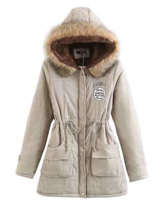 Z&I Teenager Girls Winter Fur Trim Hooded Parka Coat Lambswool Lined Outdoor Jacket (S, )